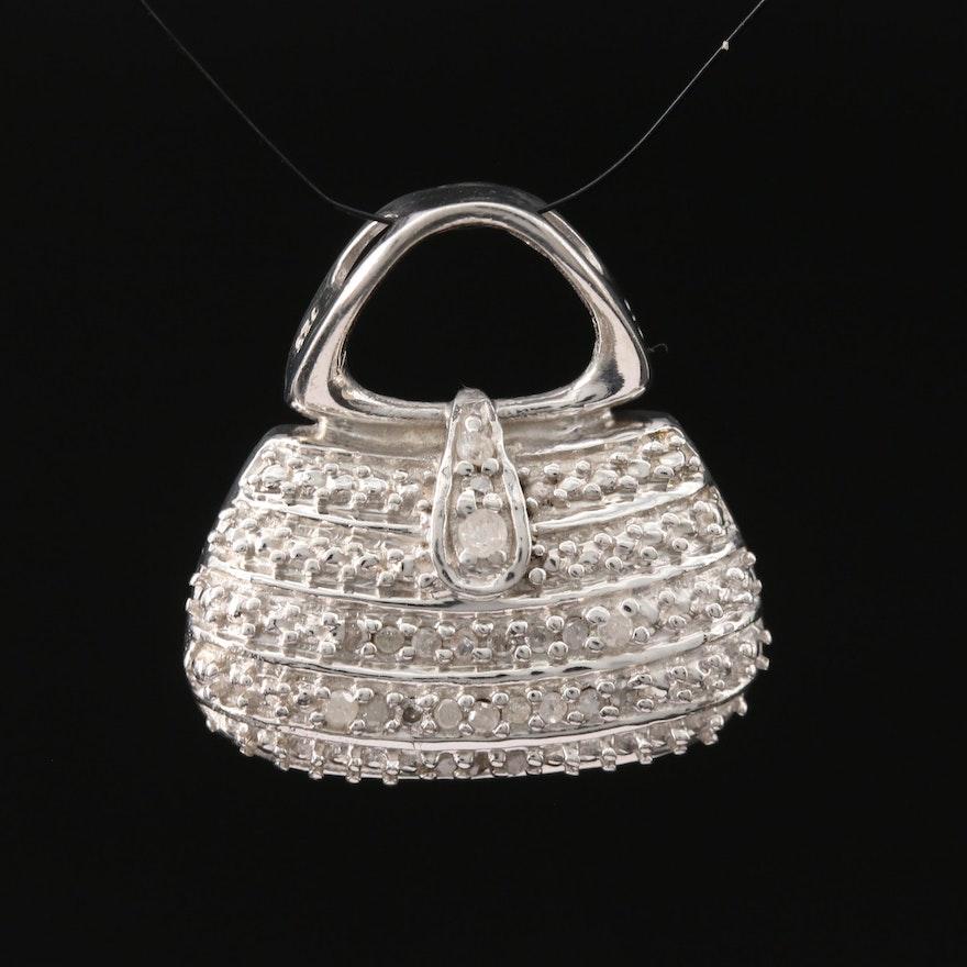 Sterling Silver Diamond Purse Pendant