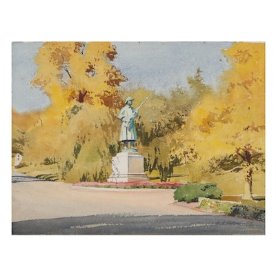 "Edmond James Fitzgerald Watercolor Painting ""The Sentry: Spring Grove"""