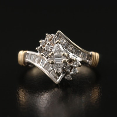 14K Diamond Bypass Cluster Ring