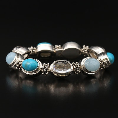 Michael Dawkins Sterling Beryl, Rock Crystal Quartz and Turquoise Link Bracelet