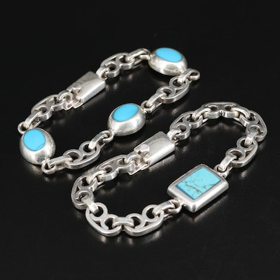 Mexican Sterling Fancy Link Bracelets Including Faux Turquoise