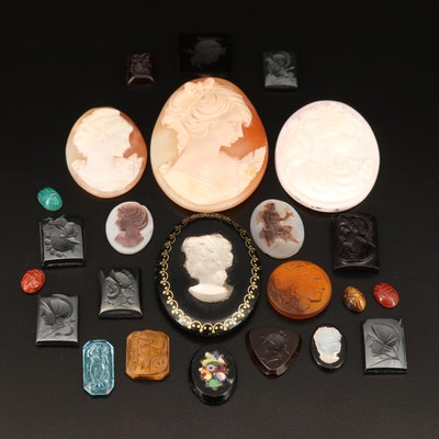 Loose Hematite, Shell, Tiger's Eye and Additional Gemstones