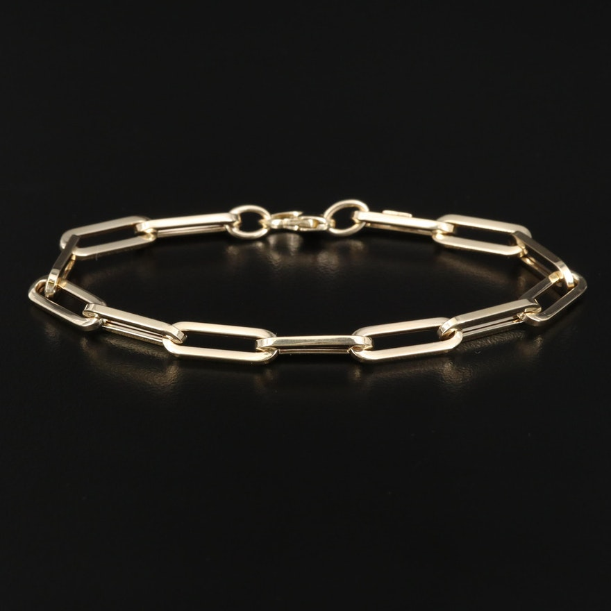 14K Oval Link Cable Chain Bracelet