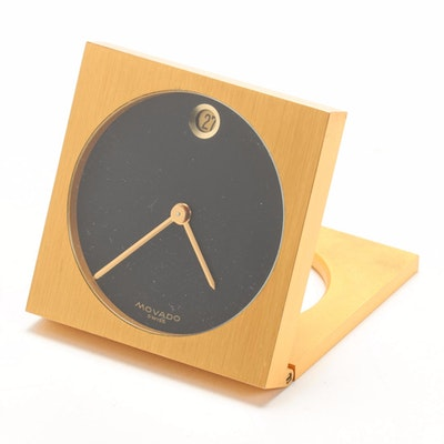 Movado 8 Day 15 Jewel Brass Folding Travel Clock, Late 20th Century