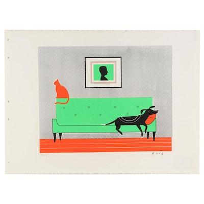 "Dave Klug Serigraph ""Modern Interior,"" 21st Century"