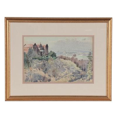 Edmond James Fitzgerald Watercolor Landscape Painting