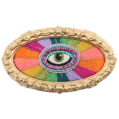 "Sarah Miller Fiber Art Wall Hanging of Mystic Eye ""Rainbow Bright"", 2021"