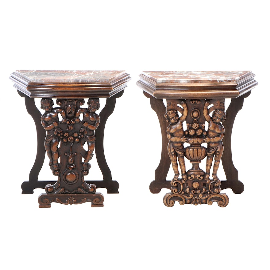 Pair of Baroque Style Carved Oak and Variegated Marble Side Tables, 20th Century