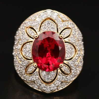 Sterling Ruby and Cubic Zirconia Flower Ring