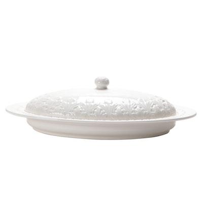 Italian Embossed Ceramic Oblong Covered Serving Dish