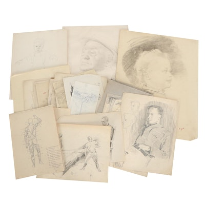 Edmond J. Fitzgerald Charcoal and Ink Sketches