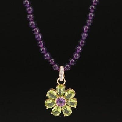 14K Peridot, Amethyst and Diamond Enhancer Pendant Necklace