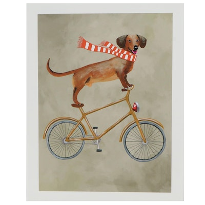 Contemporary Giclée of Bicycle Riding Dachshund