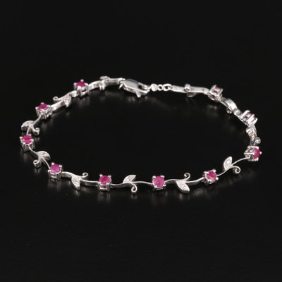 14K Ruby and Diamond Foliate Link Bracelet