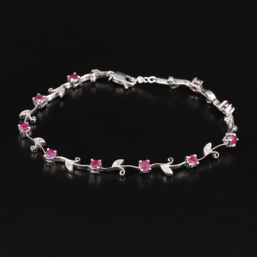 14K Ruby and Diamond Foliate Link Bracelet
