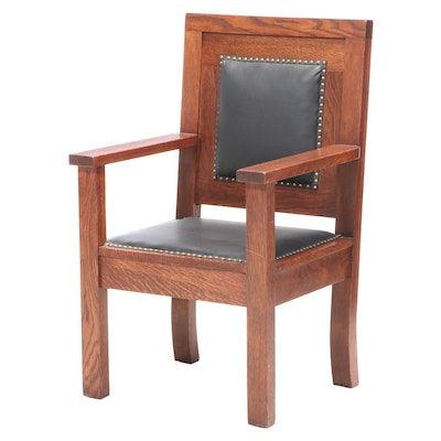 Quartersawn Oak and Brass-Tacked Leather Armchair, Early to Mid 20th Century