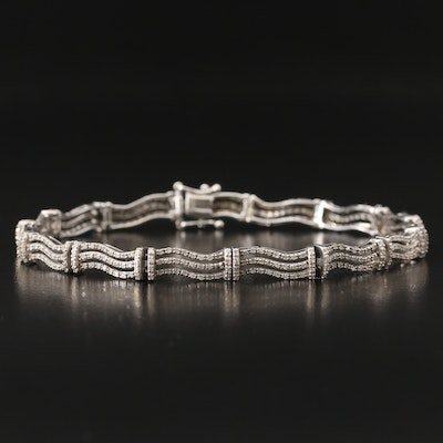 14K 2.00 CTW Diamond Triple Wave Link Bracelet