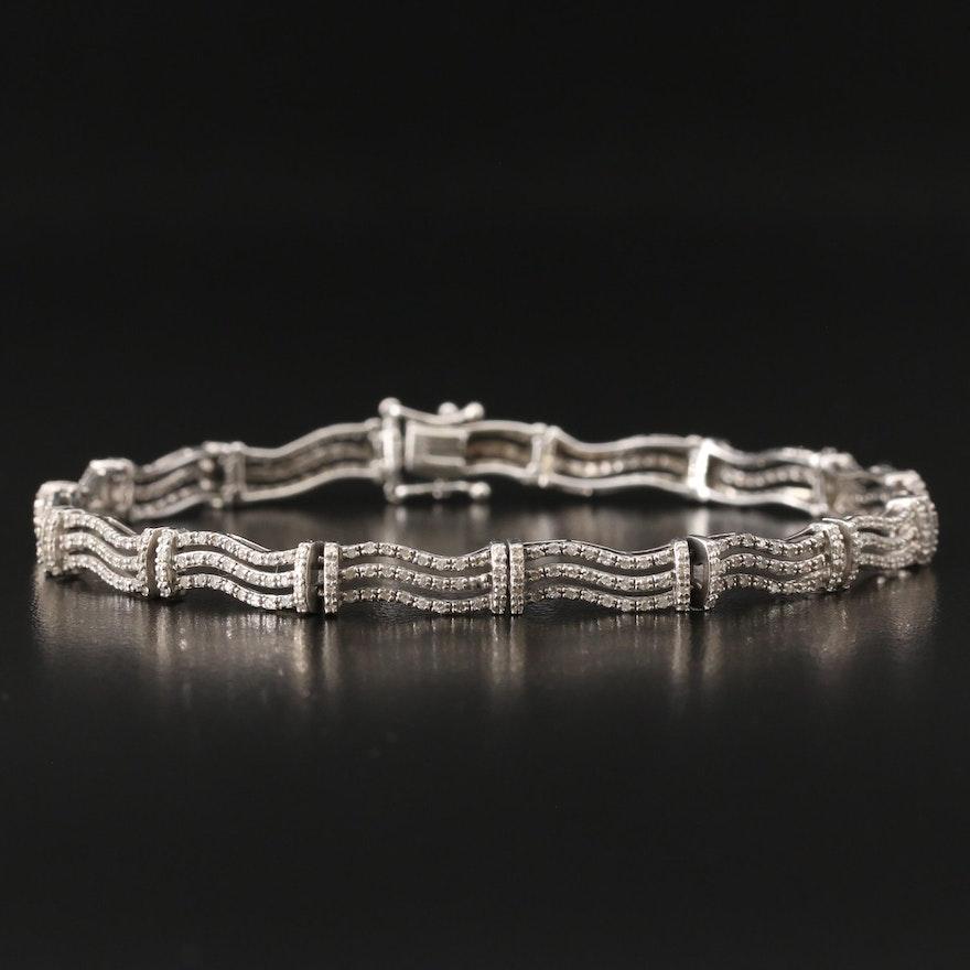 14K 2.00 CTW Diamond Triple Wave Link Bracelet