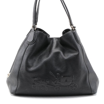 Coach Edie Black Pebbled Leather Shoulder Bag with Embossed Horse and Carriage