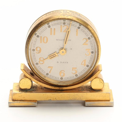 Art Deco Waltham Brass Partner's Desk Clock, 1941