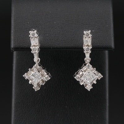 14K 1.08 CTW Diamond Drop Earrings