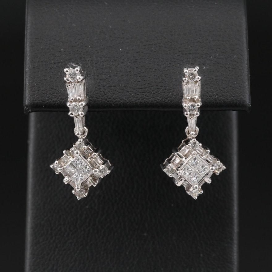 14K 1.08 CTW Diamond Drop Earrings