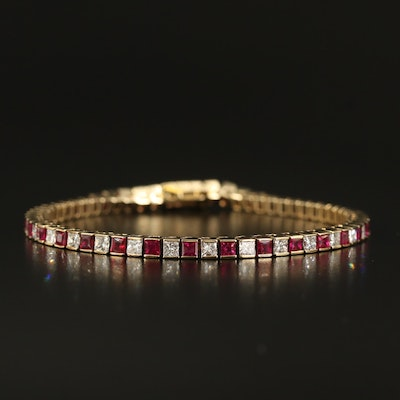 14K Diamond and Ruby Line Bracelet