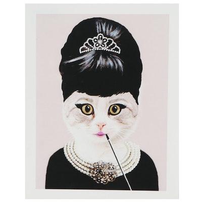 Contemporary Giclée of Audrey Hepburn Cat with Pearls and Tiara