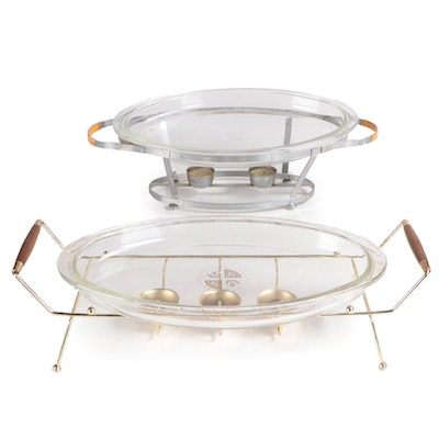 Pyrex Oval Bakers with Warming Stands