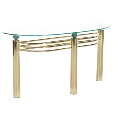 Brass and Glass Top Accent Table, circa 1980