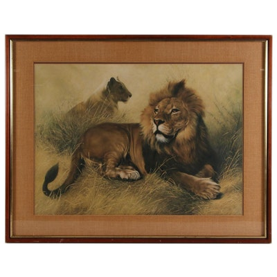 "Charles Fracé Offset Lithograph ""The Lions,"" circa 1974"