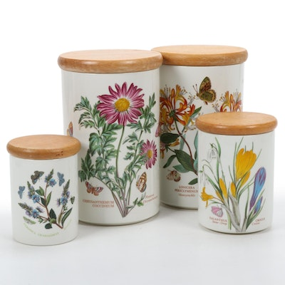 """Portmeirion """"The Botanic Garden"""" Ceramic Canisters With Wood Lids"""