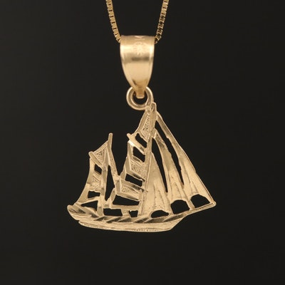 14K Sailboat Pendant Necklace