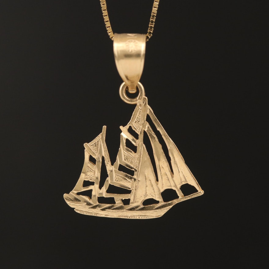 14K Sailboat Pendant Necklace