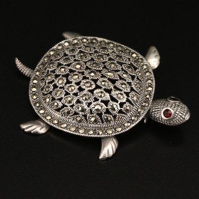 Sterling Garnet and Marcasite Turtle Brooch