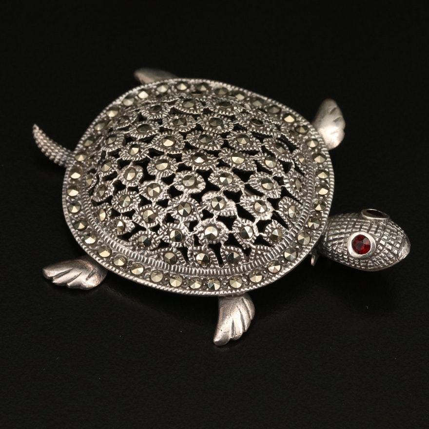 Sterling Garnet and Marcasite Turtle Brooch