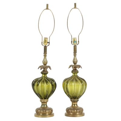 Pair of Hollywood Regency Lamps with Olive Green Glass Bases, Mid-20th Century