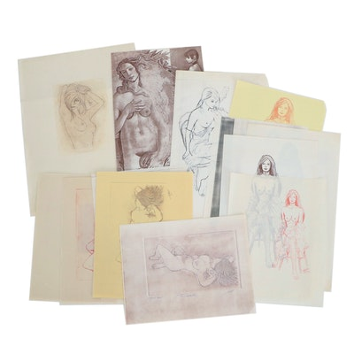 Franklin Folger Mixed Media Drawing Portfolio, Late 20th Century