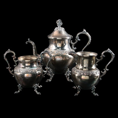 Birmingham Silver Co. Silver Plate Teapot, Creamer, and Sugar, Mid-20th C.