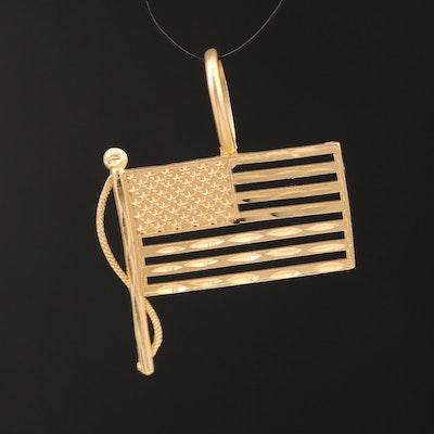 14K American Flag Pendant