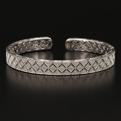Sterling Diamond Hinged Cuff