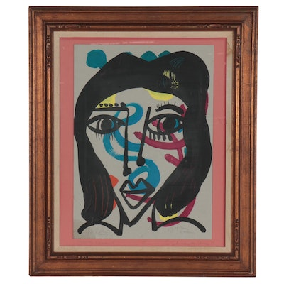"""Peter Keil Acrylic Painting """"Gypsy Woman,"""" 1975"""
