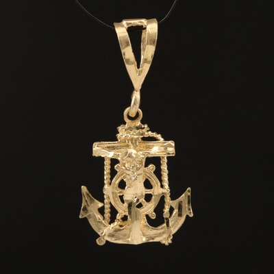 14K Mariners' Anchor Cross Pendant