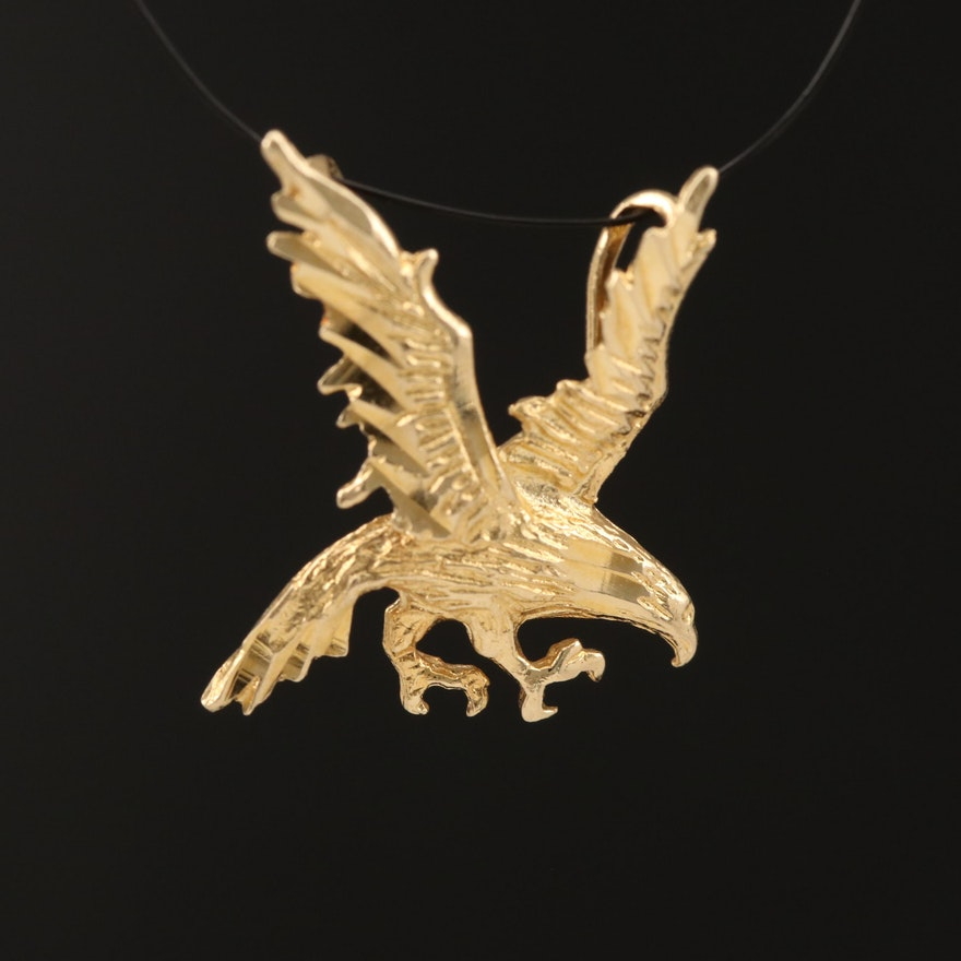14K Yellow Gold Eagle Pendant with Diamond Cut Accents