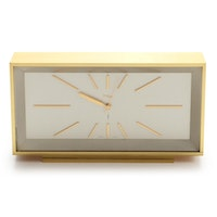 Imhof Modern Battery Operated Brass Desk Clock, Late 20th Century