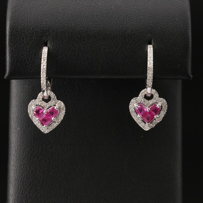 18K Ruby and Diamond Heart Drop Hoop Earrings
