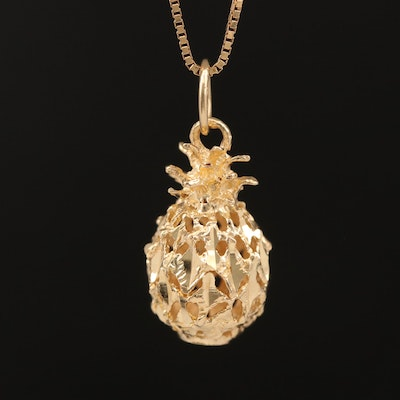 14K Pineapple Pendant Necklace