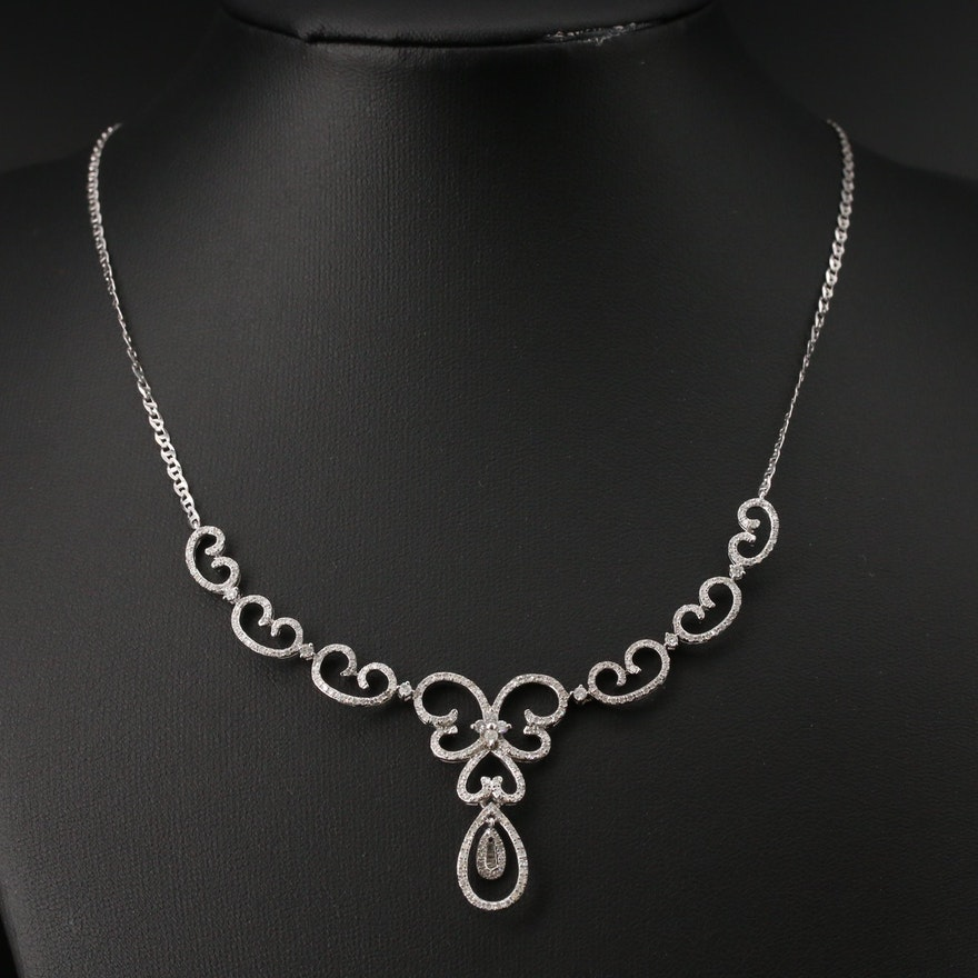 14K 1.23 CTW Diamond Scroll Necklace