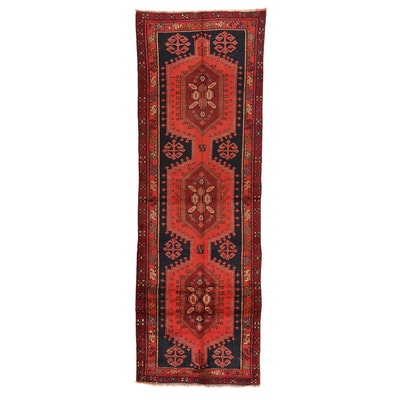 3'9 x 11'2 Hand-Knotted Persian Hamadon Carpet Runner