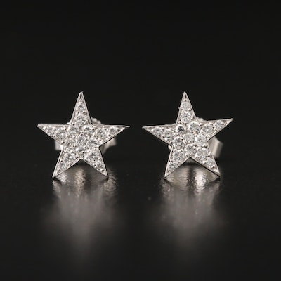 18K Diamond Star Earrings